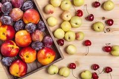 Нектарины, вишни и сливы на таблице стоковое изображение rf