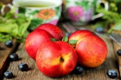 Нектарины, ягоды и мята Стоковые Фото