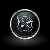 Некурящий значок внутри круглого серебра и черной эмблемы Стоковое Изображение RF
