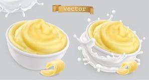 Немедленные картофельные пюре, с маслом и молоком иконы иконы цвета картона установили вектор бирок 3 иллюстрация вектора