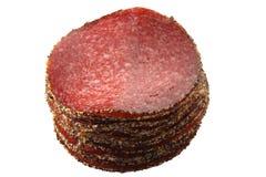 немецкая изолированная сосиска салями перца Стоковое фото RF