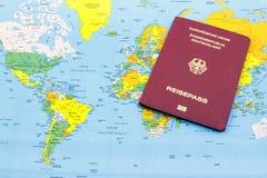 Немецкая карта пасспорта и мира Стоковые Изображения