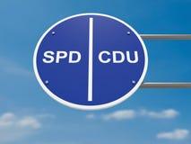 Немецкая концепция политики дорожного знака: Майны SPD и CDU избрания, иллюстрация 3d стоковое фото