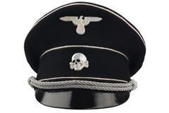 Немецкая крышка фуража черноты SS нациста WW2 стоковые фотографии rf