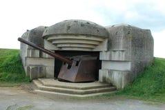 Немецкая пушечная батарея Стоковое Изображение RF