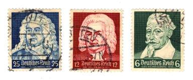 Немецкие композиторы на штемпеле почтового сбора стоковая фотография rf