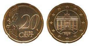 Немецкие монетка Германии цента евро 20, лицевая сторона 20 и Европа, Бранденбургские ворота задней стороны стоковые фото