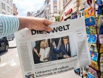 Немецкие реакции прессы к французским выборам в законодательные органы 2017 Стоковая Фотография