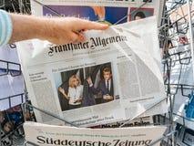 Немецкие реакции прессы к французским выборам в законодательные органы 2017 Стоковое Изображение