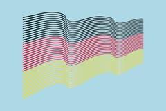 Немецкий вектор флага на голубой предпосылке Флаг нашивок волны, линия i Стоковые Изображения RF