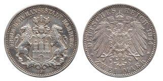 Немецкий год сбора винограда 1914 серебряной монеты Гамбурга 2 Марк империи стоковая фотография rf