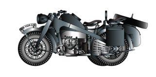Немецкий мотоцикл с sidecar иллюстрация штока