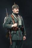 Немецкий пехотинец во время первой мировой войны. стоковые изображения rf