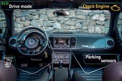 Немецкий роскошный лимузин - кожаные места, оборудование спорта, иллюстрация стоковые фотографии rf
