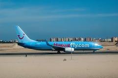 Немецкий самолет в авиапорте Hurghada Египет Стоковое Фото