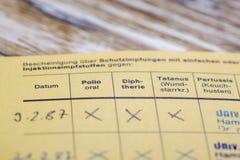 Немецкий сертификат вакцинирования MMR Стоковые Фото