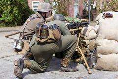 Немецкий экипаж пулемета Стоковые Изображения RF
