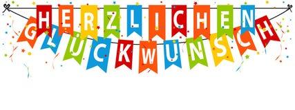 Немецкое ckwunsch ¼ Herzlichen Glà знамени партии - перевод: С днем рождения Стоковая Фотография