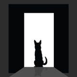 Немецкое shepard на силуэте двери иллюстрация вектора