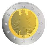 немец 2 евро монетки Стоковое Изображение RF