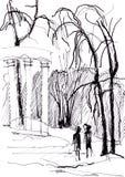 Немедленный эскиз, колоннада бесплатная иллюстрация