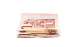 Немногие 5 изолированных примечаний евро Стоковое Фото