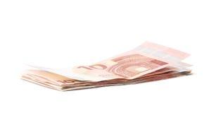 Немногие 5 изолированных примечаний евро Стоковое фото RF