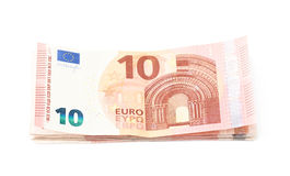 Немногие 5 изолированных примечаний евро Стоковые Изображения