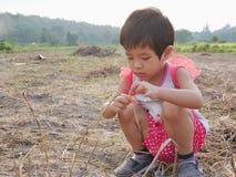 Немногое азиатский ребенок играя с сухими травами на на открытом воздухе земле стоковое фото