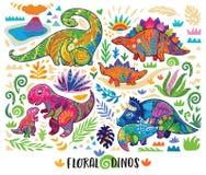 Немногое динозавры с элементом украшенным мамами флористическим r бесплатная иллюстрация