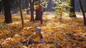 Немногое милая девушка скача в листья на парке в осени и деревьях сток-видео