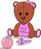 Немногое плюшевый мишка с погремушкой, шариком, объявлением младенца метрическим для девушки коричневый цвет карты и розовый цвет иллюстрация штока