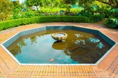 Немногое сад с фонтаном в середине стоковое фото rf