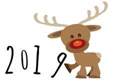 Немногое смешной мультфильм 8 младенца северного оленя поддерживая в численном годе, льет feliciter 2019 стоковые изображения rf