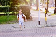 Немного 7 лет зеленого света школьника ждать Стоковые Фото