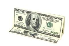 Немного 100 долларов в счетах Стоковые Изображения