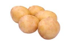 Немного свежих и органических новых картошек, изолированных на белой предпосылке Сырцовые и трудные картошки вполне питательных в Стоковые Фото