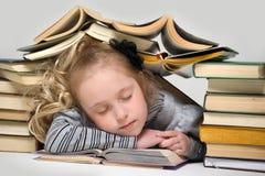 Немного спящ среди книг Стоковые Фотографии RF