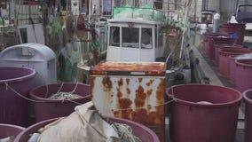 Немного старых vesselis рыбной ловли с плавными сетками припарковали около пристани акции видеоматериалы