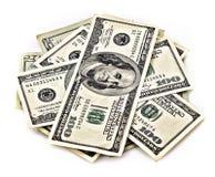 Немного 100 изолированных долларов Стоковая Фотография RF