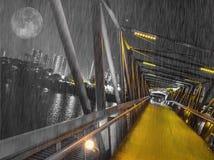 Ненастная и холодная ноча на мосте через реку Стоковые Фотографии RF