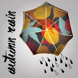 Ненастная осень с зонтиком Сезон дождей дождь Иллюстрация штока