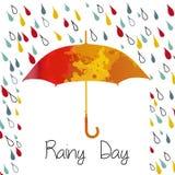 Ненастная осень с зонтиком Сезон дождей дождь Иллюстрация вектора