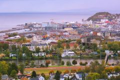 Rainy foggy twillight in Trondheim, Norway Стоковое Изображение