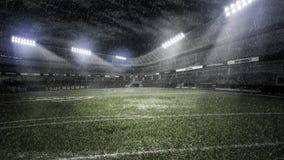 Ненастный футбольный стадион в световых лучах на иллюстрации ночи 3d стоковая фотография