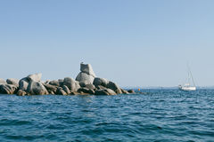 Необжитые острова Lavezzi около Bonifacio, Корсики, Франции Стоковые Изображения