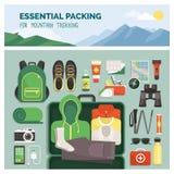 Необходимая упаковка для горы trekking бесплатная иллюстрация