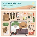Необходимая упаковка для путешествия сафари пустыни бесплатная иллюстрация