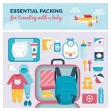 Необходимая упаковка для путешествовать с младенцем иллюстрация штока