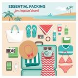 Необходимая упаковка для тропического пляжа бесплатная иллюстрация